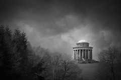 Mausoleum (aveyardphotography) Tags: castle howard mausoleum howardian hills old stone north yorkshire mono monochrome black white blackandwhite trees clouds dark moody