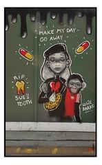 STREET ART by LOLIE DARKO (StockCarPete) Tags: loliedarko streetart londonstreetart urbanart graffiti monkey animal tooth makemydaygoaway pills london uk beret adidas yeloowred sunspots heart