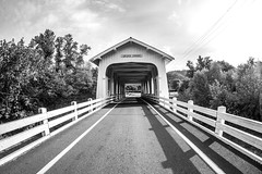 Her Morning Elegance (Thomas Hawk) Tags: america gravecreek gravecreekbridge oregon southernoregon sunnyvalley usa unitedstates unitedstatesofamerica bridge bw coveredbridge wolfcreek us fav10 fav25