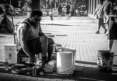 He's got the rhythm (Rabican7) Tags: boston newengland massachusetts downtown streetphotography blackandwhite monochrome musician drums rhythm percussion performer music photography urban city street movement walkers crowd sidewalk nikon