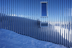 Cabane Tracuit (twoeye) Tags: architecture hut alps corrugated chrome reflection mirror blue white steel