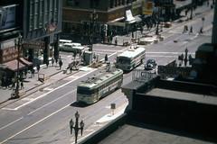 US CA San Francisco MUNI PCC 1xxx 8-1970 Market Street (David Pirmann) Tags: california sanfrancisco muni tram trolley streetcar transit railroad transportation pcc