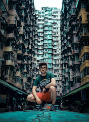 Selfie in Hong Kong. (Matthias Dengler || www.snapshopped.com) Tags: matthias dengler snapshopped quarry bay hong kong urban dark ghost shell casual cool guy man selfie fujifilm xt1 city cityscape photography china travel explore create discover men portrait squat