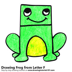 Frog from Letter F (drawingtutorials101.com) Tags: frog from letter f with animals letters animal sketching pencil sketch sketches draw drawing drawings color colors coloring how pencils speed