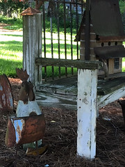A Bench, A Birdhouse, and One Over-Sized Bird ... (~ Cindy~) Tags: yarddecorations oldbench birdhouse rooster rockwood tennessee