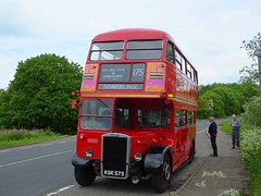 Leyland Titan PD2 No.RTW75 at Passingford Bridge on the 175 route. Epping Ongar Railway London Transport Weekend. 13 05 2018 (pnb511) Tags: londonbuscompany red doubledecker bus epping eppingongarrailway kgk575 road people rtw75
