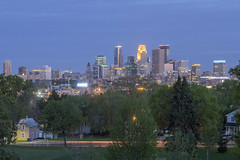 Farview Park Skyline (Sam Wagner Photography) Tags: minneapolis minnesota twilight blue hour long exposure car trails traffic transit green spring landscape trees midwest skyline skyscrapers buildings city cityscape modern urban metropolis architecture decorative lights downtown