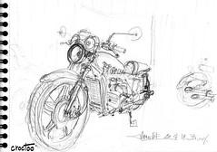 Au garage ! (Croctoo) Tags: croctoofr croctoo croquis mécanique mecanique crayon motoancienne moto