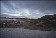 Human trace in Iceland (Giovanni Stengel) Tags: iceland exploring analogue analogica foto pentaxlx colors snow ice grandangolare grandangular wideanglelens wide angle 12mm fullframe landscape mountains road footprint footstep traces human red