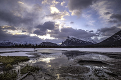 Vermillion morn (Canon Queen Rocks (2,130,000 + views)) Tags: clouds water sky scenery scenic nature nationalpark banff banffnationalpark grass reflections ice mountains canada landscape lake vermillionlakes landscapes lakes landschaft mountainpeak mountainside momentsbycelinecom