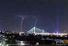 20170724-2111 (srkirad) Tags: night sky dark lightning lightnings storm stormy clouds cloudy serbia srbija belgrade beograd skyline bridge adabridge lights roofs buildings houses