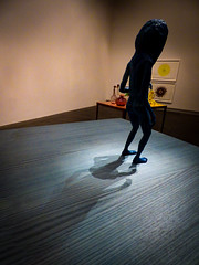 On a Slippery Slope (Steve Taylor (Photography)) Tags: art painting picture sculpture artgallery blue cream yellow wood newzealand nz southisland canterbury christchurch city grain vigenette alien