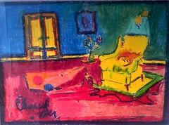 Édouard Daher   Scène d'intérieur   pastel (Gilbert-Noël Sfeir Mont-Liban) Tags: édouarddaher peintre painter peinture painting tableau pastel rot rouge red jaune yellow kesserwan montliban liban mountlebanon lebanon