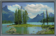 Spirit island(Can) (williamwalton001) Tags: canada island boat trees texture effect water woodlands rocks lake colourimage clouds mountains daarklands