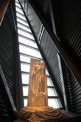 War Museum Statue (josullivan.59) Tags: 2017 artistic canada canon6d may ontario ottawa architecture backlit canonef24105mmf4lisusm detail downtown geometric interior light lightanddark museum travel war warm white yellow 3exp orange architectural day historical