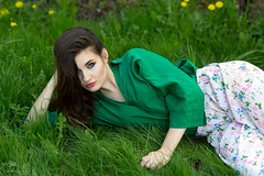 On the grass (piotr_szymanek) Tags: marcelina marcelinab portrait outdoor grass green blouse woman young skinny longhair face eyesoncamera 1k 5k 20f 50f 10k 100f 20k 30k hand flower