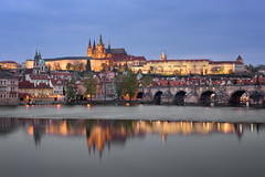 Prague Castle, Charles Bridge and Saint Vitus Cathedral in the Evening, Prague, Czech Republic (ansharphoto) Tags: architecture bohemia bridge building capital castle cathedral charles church city cityscape culture czech dusk europe european evening fort gothic historic historical history house hradcany iconic illuminated landmark landscape lights medieval night old prague reflection republic river sky skyline tourism tower town travel tree twilight urban vacation view vitus vltava water