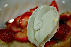 Whipped Cream On Shortcake. (dccradio) Tags: lumberton nc northcarolina robesoncounty indoors inside food eat sweet sweets dessert strawberry fruit strawberries fresh cut sliced red berry berries seed seeds whippedcream whippedtopping coolwhip cake shortcake strawberryshortcake bowl corellebowl dessertbowl nikon d40 dslr