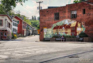 Looking up Old Columbia Pike from Main Street in Old Ellicott City Maryland