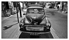portrait of a Morris (charleyk) Tags: blackandwhite monochrome veteran classic van madeinbritain nightime