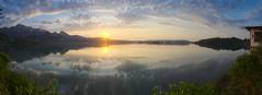 silence is golden (koaxial) Tags: p4218286ap4218305av2p1mb koaxial sunset kochel see lake sonnenuntergang water reflection clouds wolken landscape evening golden silence blue hugin
