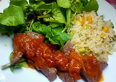 #240418 #almoço #file grelhado a pizzaiolo, arroz integral e agriao #lunch grilled steak,  brown rice and salad (i cook my meals daily) Tags: lunch almoço file 240418