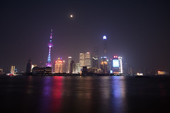 The Bund - Shanghai (virtualwayfarer) Tags: shanghai shanghaishi china cn downtown city exploring chinese urban culture skyline tallbuildings skyscrapers bund watan waitan waterfront longexposure afterdark evening moon tower towers night alexberger sony sonyalpha a7rii