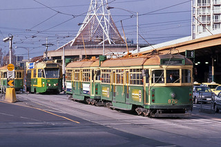 W class tram, Flinders Street Station, Melbourne - June 1999.