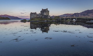 Eilean Donan Castle with first light on the distant hills