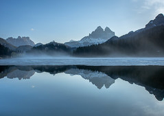 Early morning reflections (802701) Tags: europeonflickr 2018 201805 dolomites europe italia italy may2018 landscape mountains scenery travel symmetry reflection reflections mist lake water scenic outdoors
