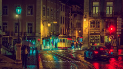 Streets of Lisbon (Pawel A K) Tags: theworldthroughourlenses 2017 portugal lisbon street night lights tram traffic city house transport waysoftransport colours