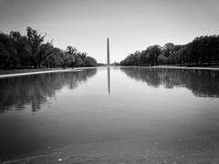 Washington Monument (` Toshio ') Tags: toshio washingtondc capital america usa washingtonmonument districtofcolumbia reflectingpool reflection monument trees bw blackandwhite iphone minimalism unitedstates
