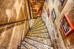 stairway to toilette (albyn.davis) Tags: paris france europe building stairs stairway steps color brown golden perspective travel