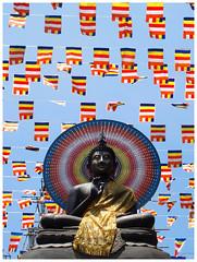 Buddha Purnima (Gurugo) Tags: colombo srilanka gangaramaya temple templo buddha buddhapurnima buda vesak banners bandeirolas decoration decoração estátua imagem image statue cloth pano
