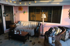 Betty's nest (BarryFackler) Tags: lanai outdoor house sofa chair pillows carpet rug lamp sunset sundown evening 2018 comforter coffeetable lantern walldecoration metalart decor flowers crab hibiscus noveltylights window candles shadows firepit southkona hawaii hawaiiisland hawaiicounty kona tropical home captaincookhi captaincook hawaiianislands bigisland polynesia westhawaii captaincookhawaii barryfackler barronfackler