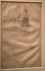 Michelangelo_Study for the Head of Prophet Zachariah, the Legs of Ignudi on the Sistine Ceiling (Hiero_C) Tags: italy newyork metropolitanmuseum michelangelo exhibition drawing cappellasistina sistinechapel vatican