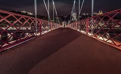 Urban perspective (Sizun Eye) Tags: lyon saône river footbridge bridge perspective saintgeorges france urban city sizuneye nikond750 nikkor1424mmf28 1424mm nikkor night winter le longexposure poselongue rhônealpes passerelle