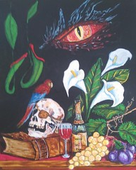 THE DRAGONS EYE (tomas491) Tags: pirateskull parrot grapes leaf book eye vine glass fluecatchers plum stilllife callas table acrylic fantasy painting dragon scary eyepatch