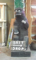 Antique Mall (neshachan) Tags: antiquemall georgia kitsch carving statue gorilla bear baitshop sign classof1966 godzilla