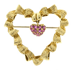 Vintage Tiffany & Co Pin Blood Red 1950 Italian 18k Yellow Gold Heart Pin (laplace777) Tags: blood heart italian tiffany vintage yellow