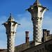 Variation sur l'art des cheminées vénitiennes, Montagnana, province de Padoue, Vénétie, Italie.