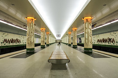 The lonely traveler on Malinauka metro station, Minsk, Belarus (Frans.Sellies) Tags: img6369 metro minsk belarus