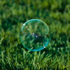 Bubble Marble (Devil With A Halo) Tags: bubble glass marble shiny floating grass green color reflection reflections colors lights highlights diffusion blades leaves nature field square