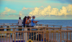 Fishermen of the Pier. (Aglez the city guy ☺) Tags: sunnyislesbeach fishermen afternoon hobby people sunnyislespier urbanexploration outdoors waterways walkingaround miamifl fence