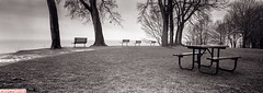 Lakefront sittings (DelioTO) Tags: 6x17 120 beaches canada city d23 f317 historical holiday lake landscape ontario panoramic rain rpx100 rural trails