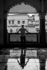 i stand alone (das.arinsuvra) Tags: mosque alone solititude black white bw man standing india indian human street design monocrome