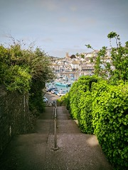 Steps (ancientlives) Tags: brixham devon england englishriviera harbour innerharbour church steps path walking tuesday may 2018 spring bluesky sunshine warm boats sailing fishing sea