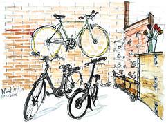 Le Beau Velo de Robigo, Niort (Croctoo) Tags: croctoo croctoofr croquis crayon aquarelle watercolor boutique atelier vélo velo bicyclette biclou cycles niort