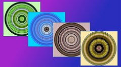Circles and Squares (rustyruth1959) Tags: rectangle outercircle innercircle adaptedphotos round colours artwork photoshopexpress pe rollworld four circles tamron16300mm nikond5600 nikon abstract squares circle square gradient blue purple