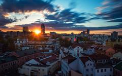 Minsk Sunset (free3yourmind) Tags: minsk sunset belarus sun nemiga center city view houses buildings clouds cloudy long exposure